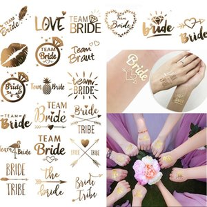 50 styles Wedding party Bride Bridesmaid tribe squad temporary tattoo Hen Night Golden Sticker bride to be wedding supplies