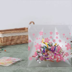 100шт Самоклеящегося Cherry Blossom Pattern Cookie конфета квадратные сумки пластиковых конфеты мешок Бисквит Выпечка Упаковка мешок