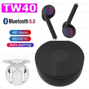 TW40 Bluetooth écouteurs sans fil Bluetooth Mini Oreillettes 5,0 Casque Sport mains libres Oreillettes Casque Touch Control Binaural Appel Oreillettes