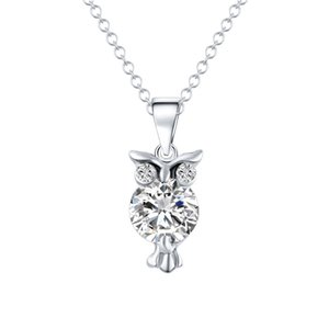 On Sale Zircon Pendants Owl Necklace for Women Crystal Heart Gold Sliver Color Long Necklaces Fashion Designer Jewelry New Year Gifts