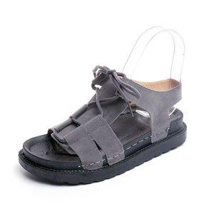 Venta caliente-XWWDVV Fábrica Venta al por mayor Estilo Verano Colegio Viento Plataforma de estilo coreano Versátiles Roma Sandalias Hembra plana Estudiantes Zapatos