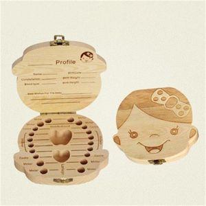 Dents de bébé en bois Boîte Fetal cheveux Manuel Collection Boîtes pour enfants Les enfants Tooth Admission Bois cas Organisateur 4 4P H1