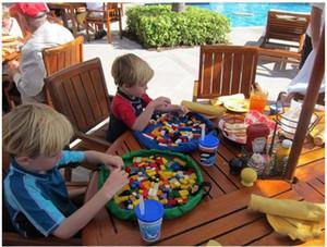 Nuevo Servicio de limpieza juego del bebé estera colorida bolsa de almacenamiento de juguete 150 / 45cm esteras de juego bolsa de almacenamiento de juguetes Manta portátil Cajas Rug juega al organizador