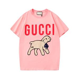 2020 Última italiana etiqueta camiseta de los pares de impresión triste LABRADORRETRIEVER de manga corta de la calle principal de manga corta camiseta de la manera linda camiseta
