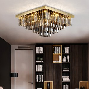 New modern luxury square L 60cm x W 60cm smoky crystal chandelier lighting with gold plate led ceiling lights for living room bedroom