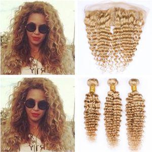 Brasilianisches menschliches Haar Honigblondes Deep Wave-Curly-Gewebe mit frontalen 3Bundles # 27 Blonde Deep Wavy-Schussfäden mit 13x4-Spitzen-Frontal-Verschluss