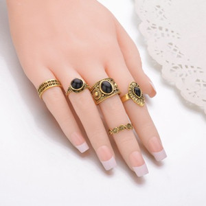 5 PCS set Vintage Ring Sets Antique Alloy Nature Blue Stone Midi finger Rings for Women Steampunk Turkish Ring Anillos R412
