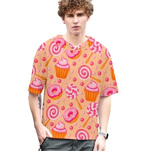 Сладости Мужчина Tshirts с капюшоном Пуловер 3D Candy Цвет Пара Tops Причинных с коротким рукавом Свободной Одежды мужской