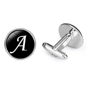 A-Z 26 Mektuplar Takı Zaman Mücevher Fransız Kol Düğmeleri Gümüş erkek Gömlek Kol Düğmeleri Siyah Serin Cam Kol Düğmeleri