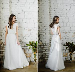 2020 nuevos dos pedazos de boda viste un vestido de línea de joyas de manga corta cuello de Boho de boda por encargo del piso Longitud elegante Vestidos de novia 759
