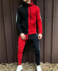 Juego de los deportes para hombre del chándal con capucha Conjunto dos piezas Otoño Invierno hombre mitad Negro medio blanco bragas de la camiseta masculina Sweatsuit Outfit