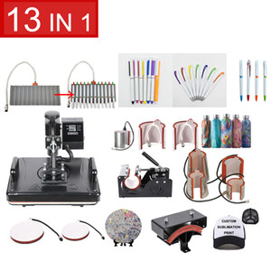 Free shipping Double Display 13 In 1 Combo Sublimation Heat Press Machine T shirt Heat Transfer Machine For Customizing T shirt Keychain
