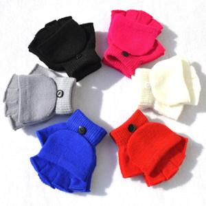 Дети конфеты цвет трикотажные флип зимние перчатки теплые шерстяные флип-топ перчатки студент теплый половина пальца нескользящие варежки партии пользу RRA2548