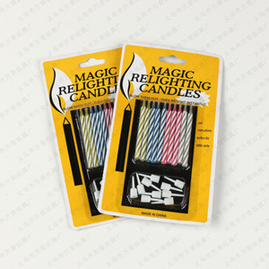 10pcs / paquete mágico Reiluminación velas de cumpleaños velas de la novedad truco para vela mágica celebración del día de Navidad de la fiesta de cumpleaños tonto