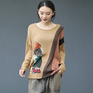 2020 Spring Sweater Women Loose Knitting Retro Pullovers Tops Female New O-Neck Print Character Casual All-match Sweater