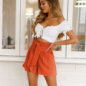 Las mujeres de verano de pierna ancha pantalones cortos de cintura alta moda ata para arriba el vendaje plisado flojos pantalones ocasionales de las señoras de los pantalones cortos del Beachwear Delgado