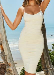 Doppelte Schicht-Partei-Kleid-Frauen 2019 Sommer V-Ausschnitt Lace Up Backless Sexy figurbetontes Kleid elegant mit Rüschen besetzten langen Kleid Grün