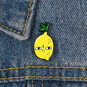 Enamel Pin Aggrieved Lemon Fruit Hard Brooch Backpack Clothes Metal Badge Lapel Pins Cartoon Jewelry Gift For Friends Kids