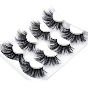 2020 New 4 pairs natural 25mm false eyelashes fake lashes long makeup 3d mink lashes eyelash extension mink eyelashes for beauty MDR-01
