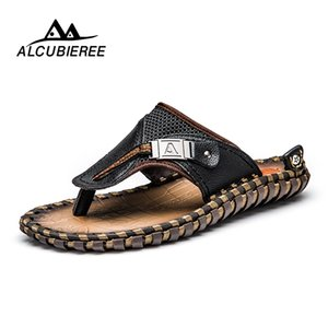 ALCUBIEREE Marka erkek Rahat Ayakkabılar Hakiki Deri Sandalet Erkekler Çevirme Havalandırma Terlik Artı Boyutu Yaz Sapato Masculino