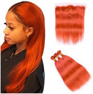 Vierge Indien cheveux humains Weave couleur orange 3Bundles avec plein fronteaux 4Pcs Lot droit orange Pure 13x4 Dentelle Frontal Fermeture avec Weave