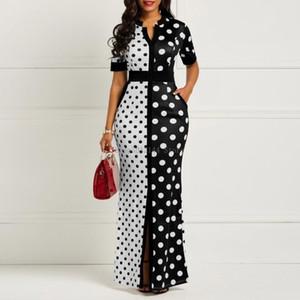 Afrikanische Kleider für Frauen Dashiki Tupfen-afrikanische Kleidung Plus Size Sommer-Weiß Schwarz Printed Retro Bodycon Lange Afrika-Kleid