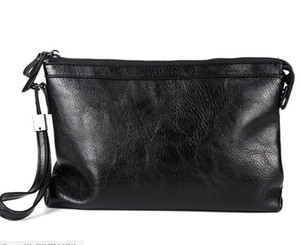 Men PU Black Large Capactity Envelope Clutch Bag With Pocket