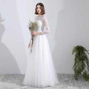 Robes de mariée en dentelle de tulle plage avec appliques robes de mariée longueur de plancher blanc avec manches robe de soirée