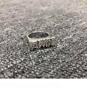lujo anillo dedo anular carta clásica AWGE ASAP Rocky de oro y plata de dos colores de la perforación punto liso