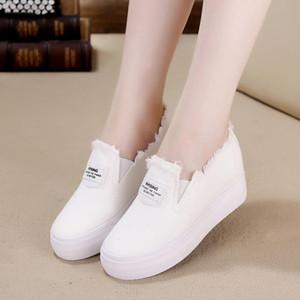La venta caliente, el aumento de altura transpirables zapatos de lona de las mujeres negras zapatillas de deporte blancas de la plataforma acuña los zapatos de las mujeres pisos Tenis informal feminino