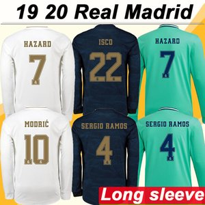 19 20 Real Madrid HAZARD MODRIC KROOS Home Maillots de foot à manches longues SERGIO RAMOS BENZEMA Maillots de foot pour hommes ISCO BALE MARIANO Uniformes