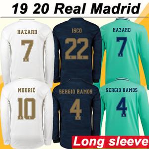 19 20 Real Madrid HAZARD MODRIC KROOS Inicio Camisetas de fútbol de manga larga SERGIO RAMOS BENZEMA Camisetas de fútbol para hombre ISCO BALE MARIANO Uniformes