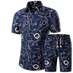 Camisas Diseño Moda M-5XL 2020 Sportsuits hombres respirable del verano fijó brevemente los hombres de chándal Set + cortos Estilo de tendencias
