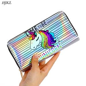 HJKL 2019nuevas señoras monedero largo monedero láser unicornio clip de dinero billetera láser billetera de dibujos animados mochila escolar