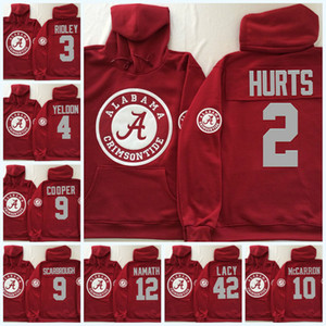 Mens NCAA Alabama Crimson Tide Jalen Hurts sweat à capuche Ridley Bo Scarbrough Eddie Lacy 12 Joe Namath Alabama sweat à capuche S-3XL