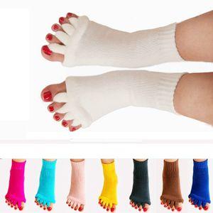 Meias de massagem yoga saúde cinco dedo do pé meias correção eversion polegar mulheres esportes meias de fitness respirável pés alívio socorro meias rra1592