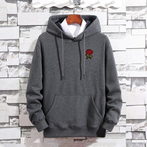 Autumn New Style Aesthetic Rose Hoodies Homens Harajuku Casual lã quente camisola Male Hip Hop aptidão Streetwear