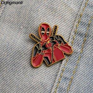 L2306 Dongmanli Deadpool Pins Broches émail pour les femmes Hommes épinglette Cartoon Badge en métal Collier Bijoux Cadeaux 1pcs eJWVl