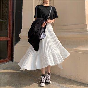 Solid Color Elastic High Waist Stitching Ruffled Irregular Pleats Woman Skirt Simple Fashion 2020 Autumn New TV518