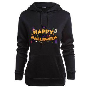 Happy Halloween Womens Sweatshirts Printed Round Neck Long Sleeve Womens Tops Ladies Hoodies Winter Female Clothing
