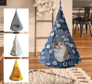 Cat Bed Tent Hammock Hanging Bed Tent Cone Shape Breathable Cat House Linen Sponge Tent Hanging Cage Cover Pet Supplies