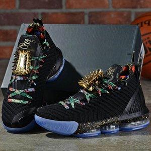 20New lebron Regarder le Trône de basket-ball Chaussures Hommes Noir métallisé or Rose gel James 16 KC or lacelocks Hommes Entraîneur sportif Sport