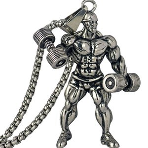 Men Fitness Dumbbell Pendant Necklace Stainless Steel Gold Silver Color Chain Gym Hip Hop Jewelry Party Gift