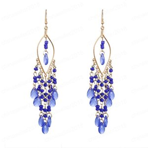 European and American multi-layer water drop long earrings female creative bohemian pearl beads tassel earrings earrings beach vacation