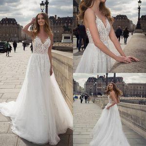 2020 Vestidos De Novia Spaghetti Beading Sequins Appliques Lace Bridal Gowns Sweep Train A Line Wedding Dresses