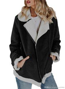 Suede Jacket Leather Designer Plus Size tasche Pilot cappotti collare di Turndown agnello caldo cappotto nuovo delle donne motocicletta