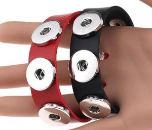 여성 18mm 스냅 버튼 쥬얼리 2020 도매 스냅 버튼 BraceletBangles 14 색 고품질 PU 가죽 팔찌
