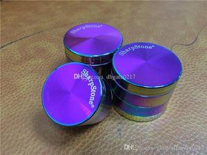 Rainbow sharpstone Grinders Ice Grinder Zinc Alloy Metal Grinders 40 50 63mm Diameter 4 Parts Herb Grinders Herb Crushers