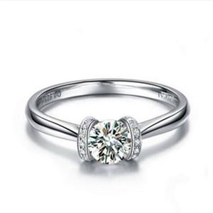 رائعة 0.5CTW 5.0MM G-H المويسانتي خاتم الزواج تشارلز COLVARD الضمان 925 فضة المرأة الاصطناعية خاتم الماس