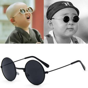 Metal Black Round Kids Sunglasses Brand little girl boy Baby Child Glasses goggles oculos UV400 Small face Suit For 2~6 age